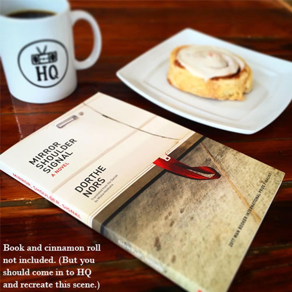 Two Dollar Radio ceramic coffee mug with book and dessert
