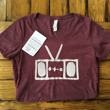 Two Dollar Radio Headquarters Radio shirt maroon ladies fit
