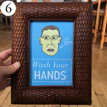Ruth Bader Ginsburg Wash Your Hands art sign in frame, front view