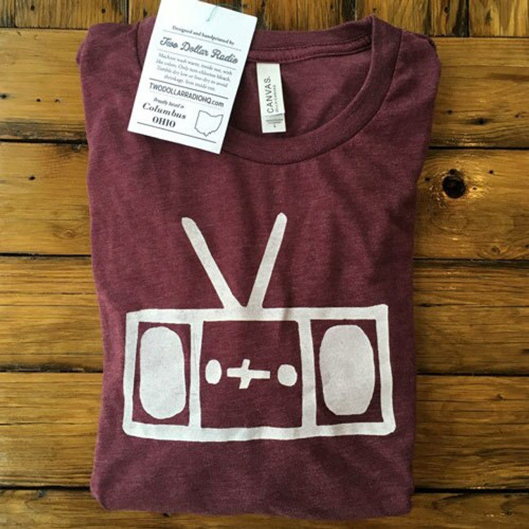 Two Dollar Radio Headquarters Radio shirt maroon unisex fit