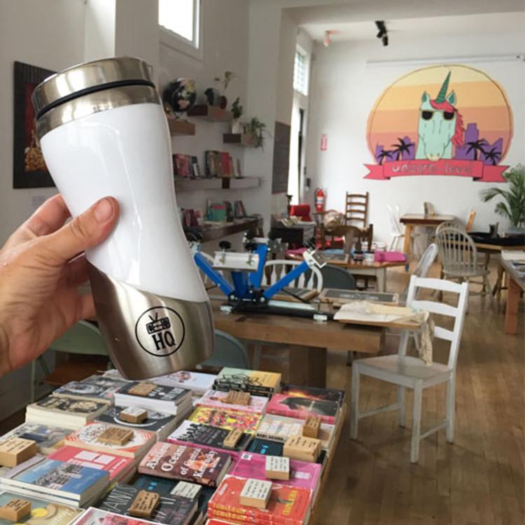 Two Dollar Radio Headquarters 13 oz. Coffee Travel Mugs