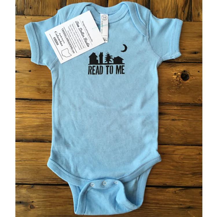 Two Dollar Radio Headquarters baby shirt onsie in light blue