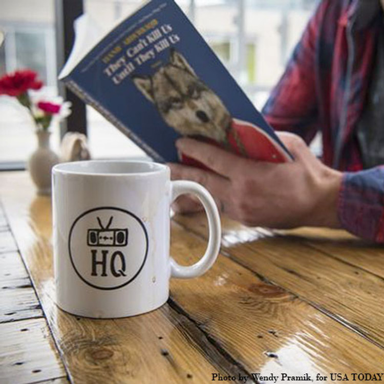 Two Dollar Radio ceramic coffee mug