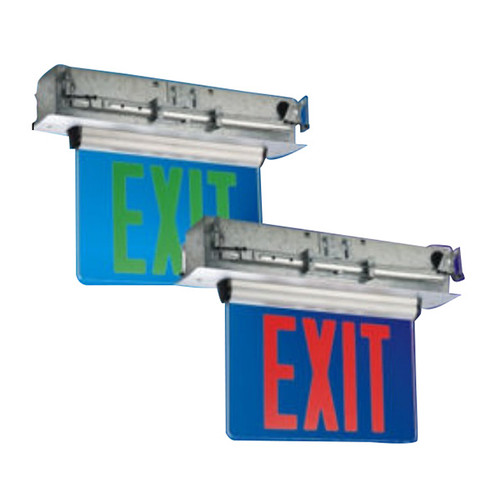 Single Face Edge Lit LED Recessed Exit Sign