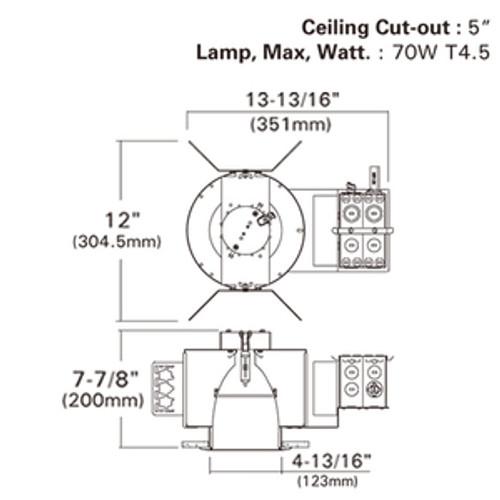 """4"""" Ceramic Metal Halide Vertical CMH-T Lamp Flat Frame-in kit, 120V/277V Electronic MH Ballast LT-CMH-VF470E"""