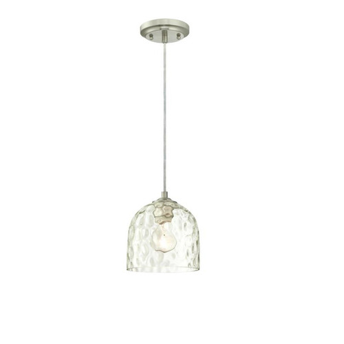 Westinghouse One-Light Indoor Mini Pendant with Clear Hammered Glass