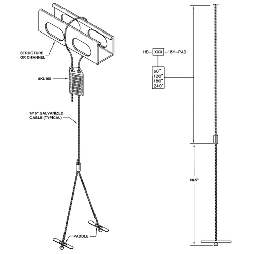 High bay Y cable mounting kit