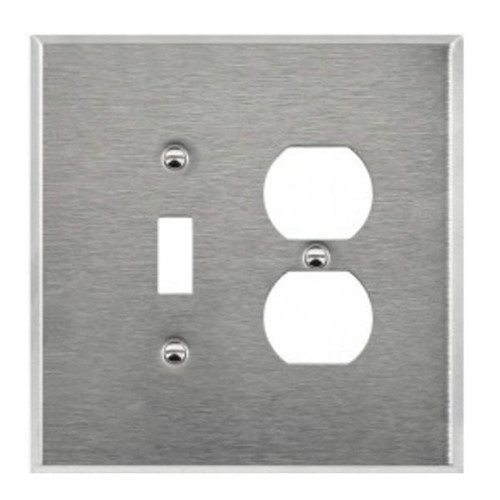 Enerlites Commercial Over-Size 2-Gang Toggle & Duplex Receptacle Wall Plate Stainless Steel