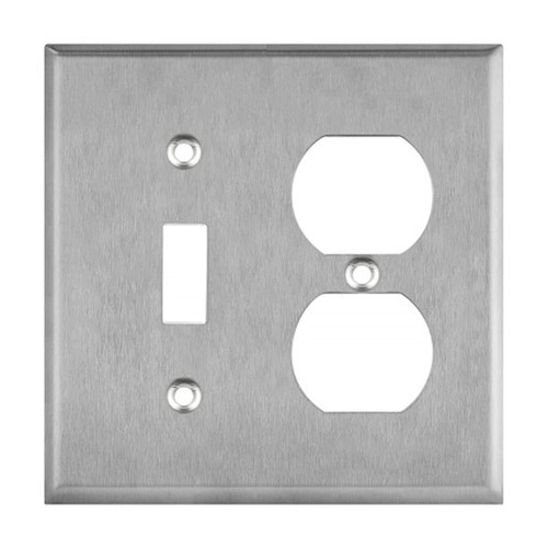 Enerlites Commercial 2-Gang Toggle & Duplex Receptacle Wall Plate Stainless Steel