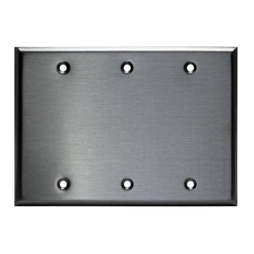 Enerlites Commercial Blank Wall Plate 3-Gang Stainless Steel