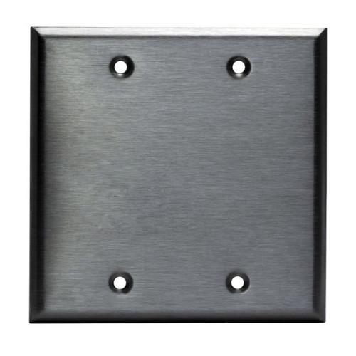Enerlites Commercial Blank Metal Plate 2-Gang Stainless Steel