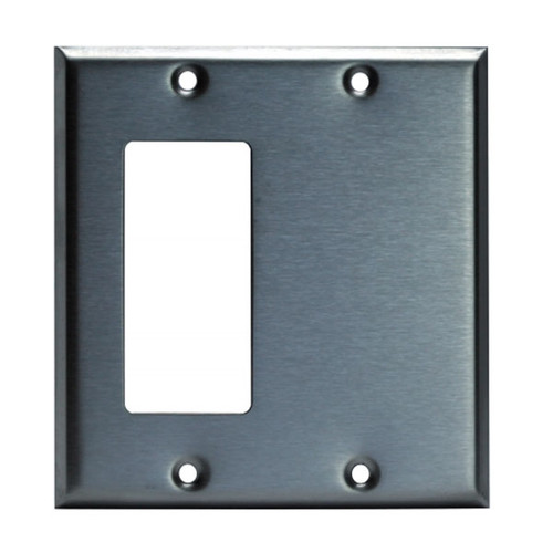 Enerlites Commercial 2-Gang Blank & Decorator/GFCI Wall Plate Stainless Steel
