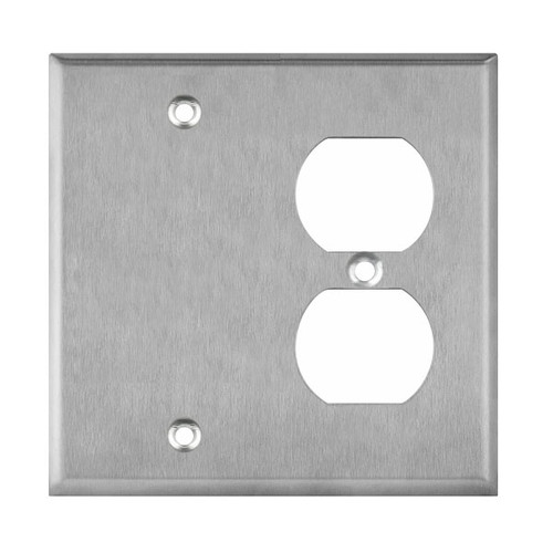 Enerlites Commercial 2-Gang Blank And Duplex Receptacle Wall Plate Stainless Steel