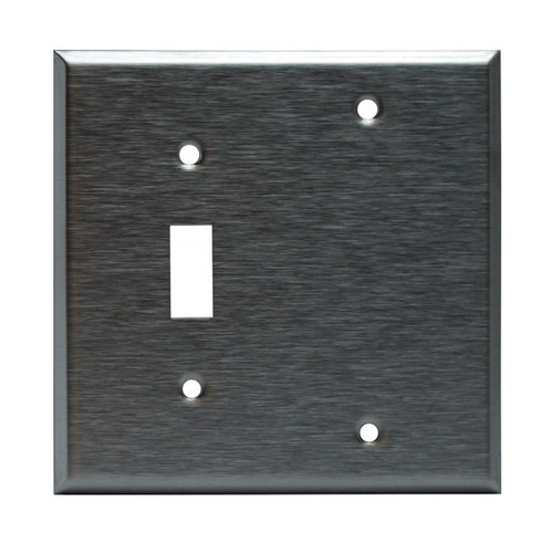 Enerlites Commercial 2-Gang Black And Toggle Wall Plate Stainless Steel