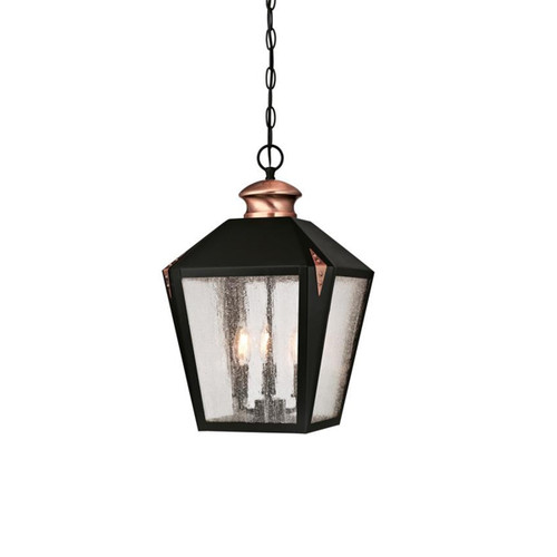 Westinghouse Valley Forge Three-Light Outdoor Pendant with Washed Copper Accents and Clear Seeded Glass