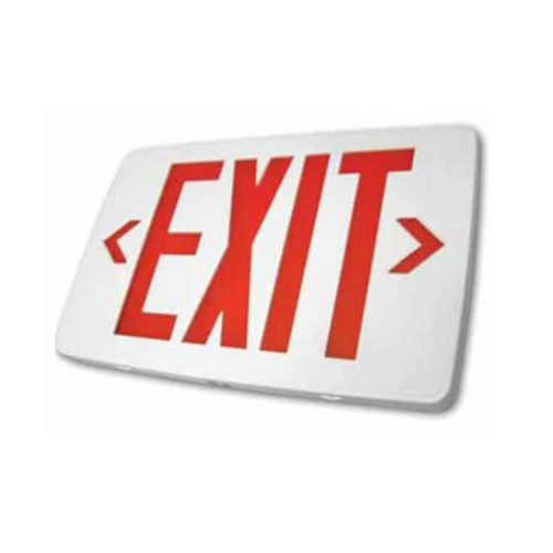 Thin LED Exit AC Only SglDbl Face Univ. Red Letter, White Housing