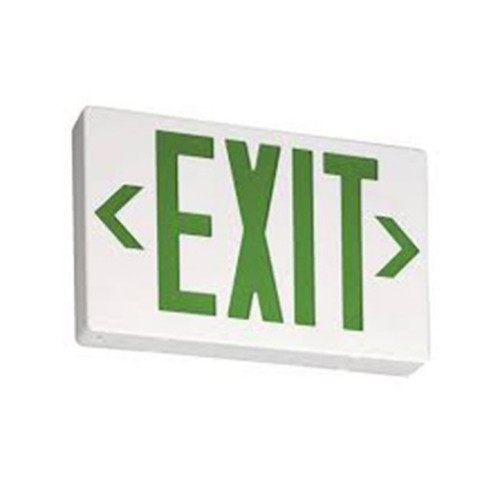 Thin LED Exit AC Only SglDbl Face Univ. Green Letter, White Housing