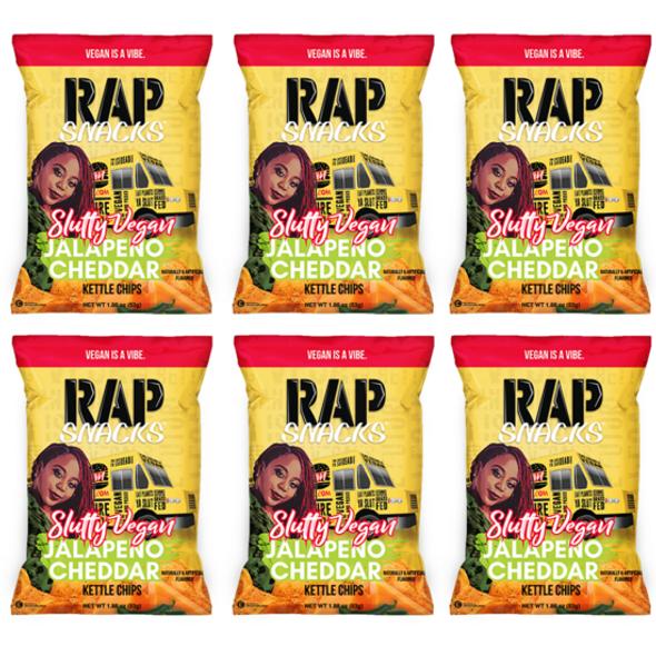 Rap Snacks Slutty Vegan Jalapeno Cheddar Kettle Chips 24ct 2.75oz
