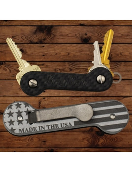 Engraved KeyBar - Carbon Fiber - USA - American Flag - Outdoor Stockroom