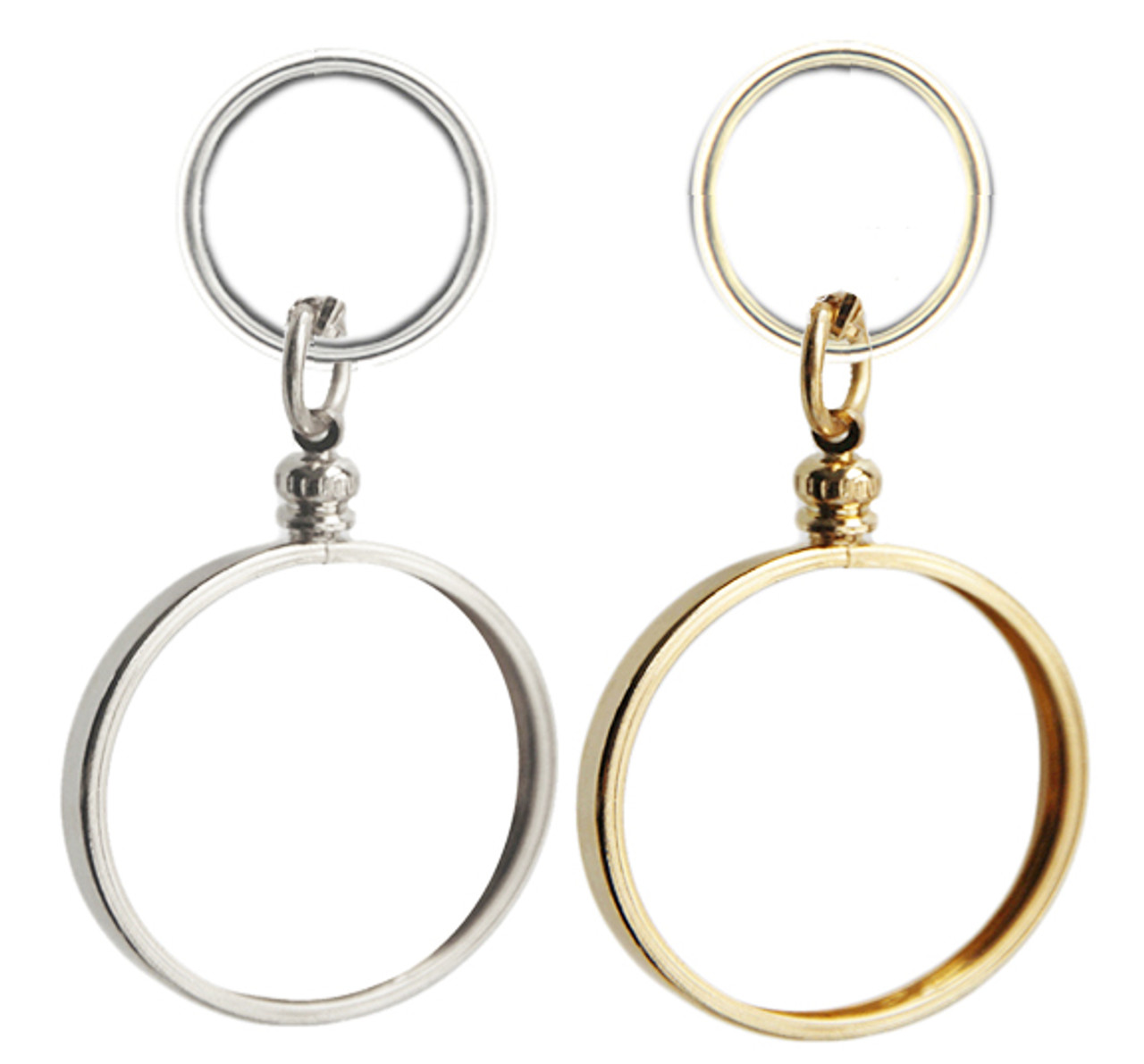 7ccc8e6a6a8 Silver or Gold Finish Key Chain Bezel for your recovery medallion or coin.