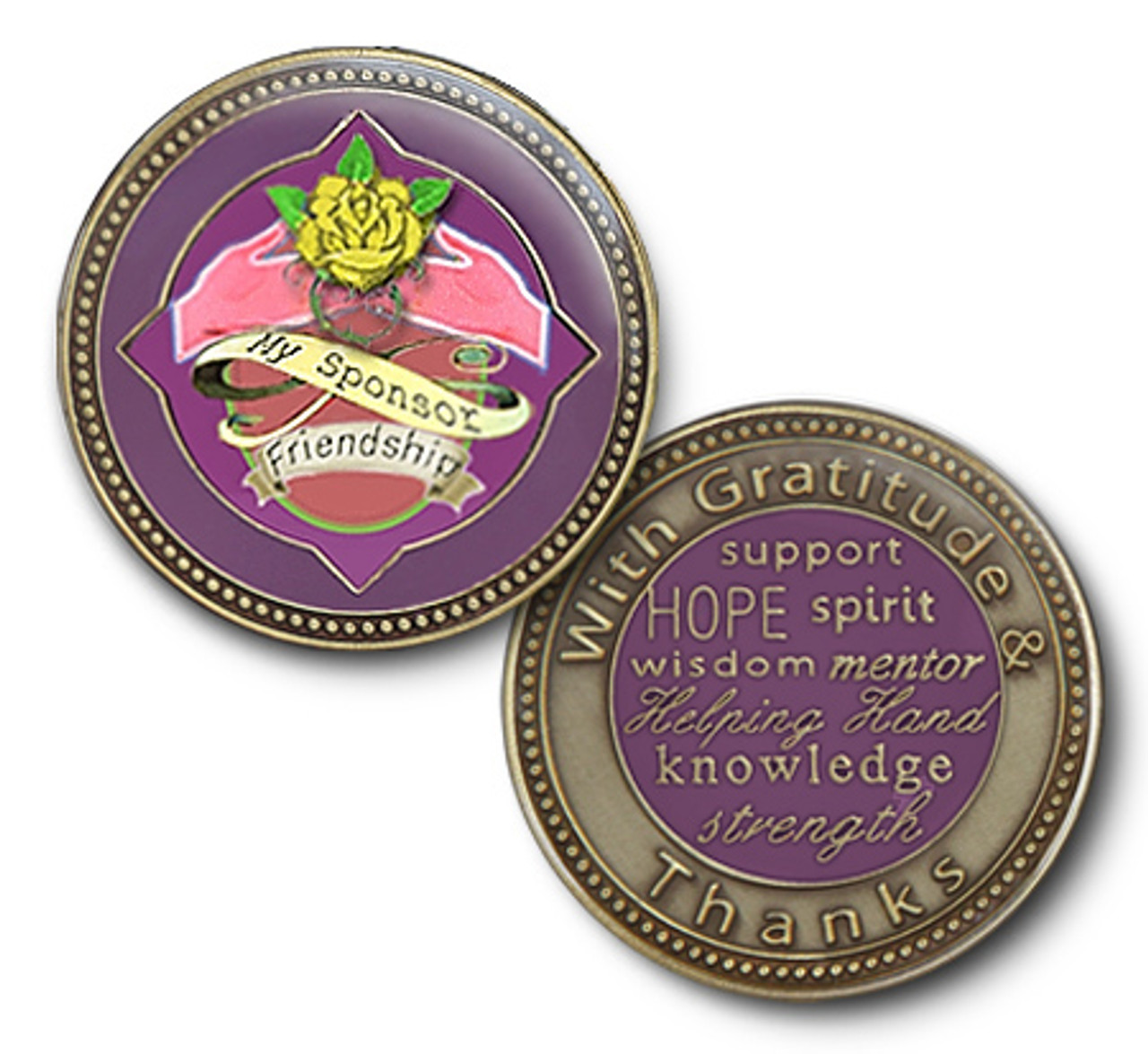Women In Recovery Rose Serenity Prayer Medallion Chip Coin AA NA Color