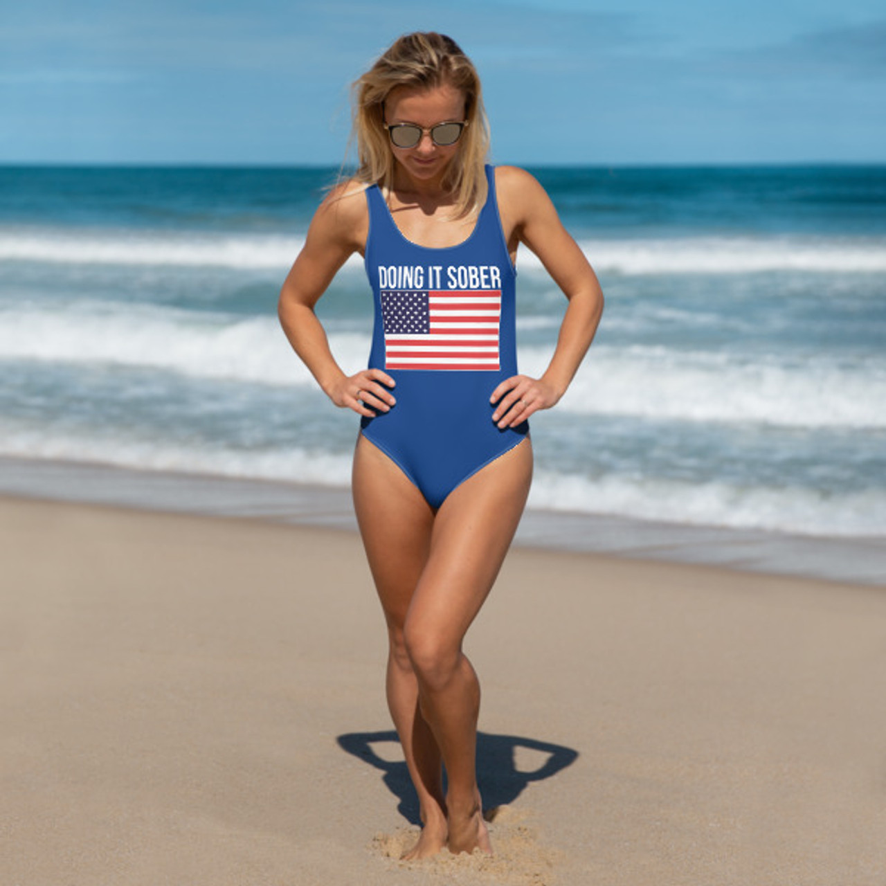 40b8e0fc373 Original Doing It Sober July 4th Flag on a Women's One-Piece Swimsuit -  Perfect Suit for Summer!