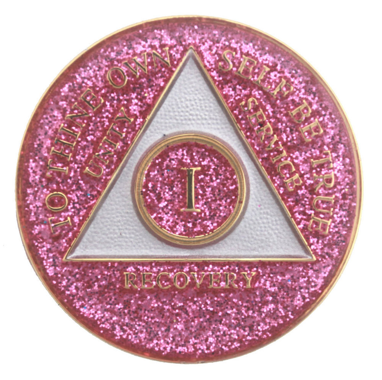 AA Purple Glitter 8 Year Coin Tri-Plate Alcoholics Anonymous Medallion Display