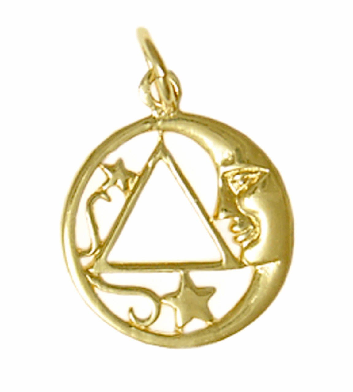 5828ab0d2af49 Style #888-3, 14k Gold, Moon and Star Pendant with AA Symbol, Medium Size