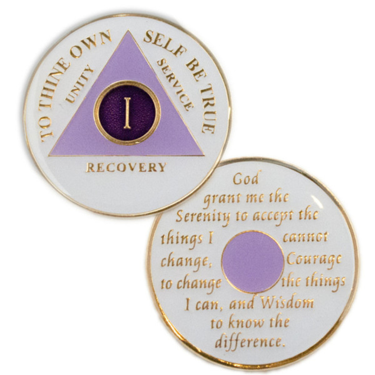 AA White//Pink 6 Month Coin Tri-Plate Alcoholics Anonymous Medallion+Stand Sober