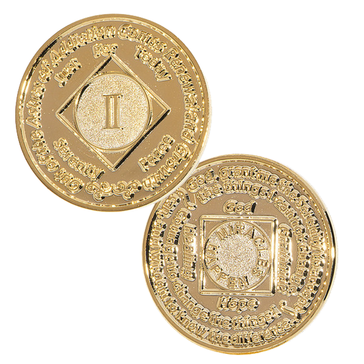 Narcotics Anonymous Coin NA 1 Year Purple Coin Gold Plated Medallion