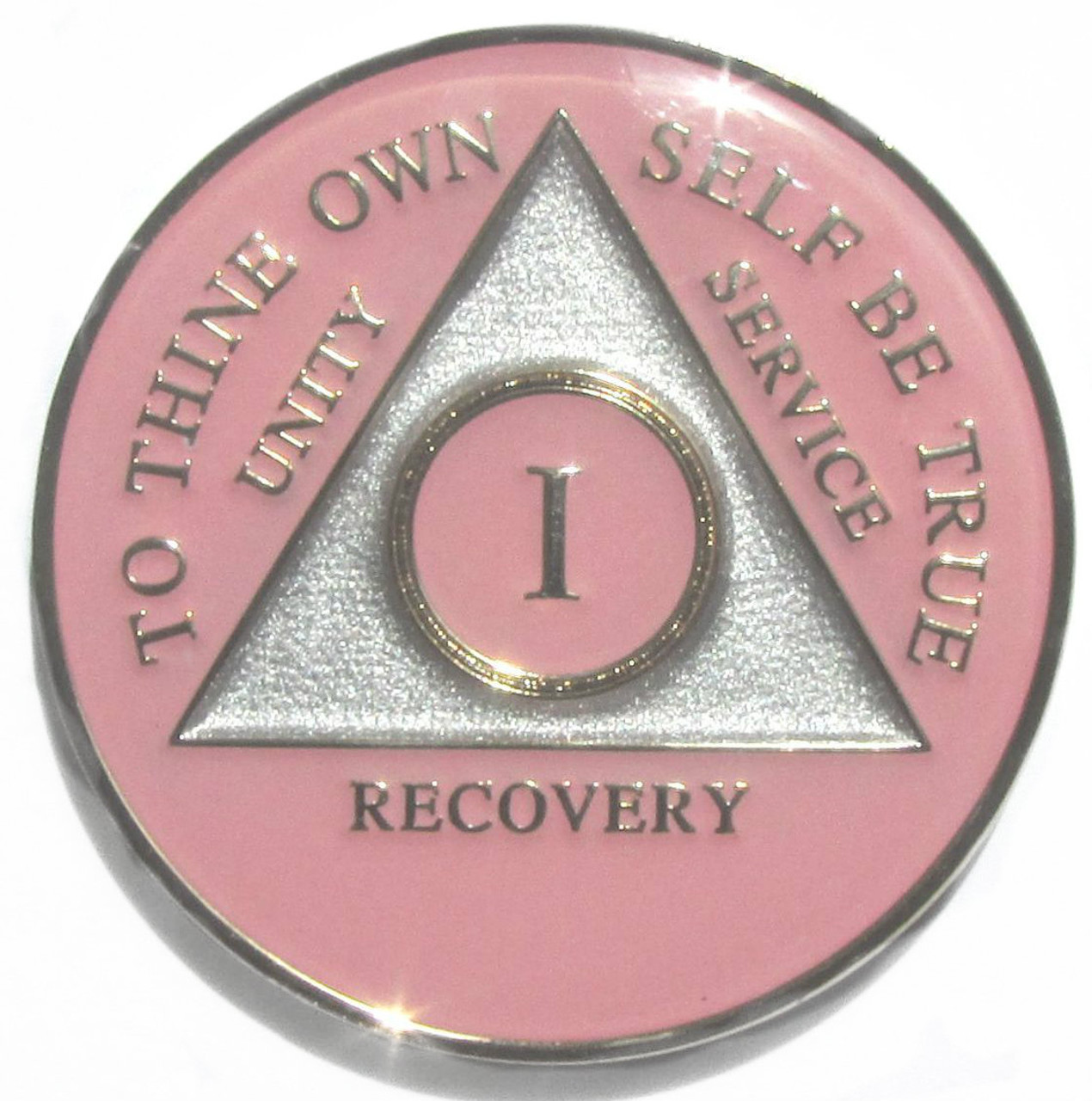 Black Blue Pink+ AA 5 Year Medallion Alcoholics Medallion All Years Available