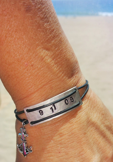 Hand stamped on Metal Anchored In Sobriety Unisex Bracelet with Sobriety Date