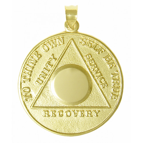 14k Gold, Large Recovery Medallion, Blank Center for Custom Engraving with  Numbers or Initials, Style #500-5