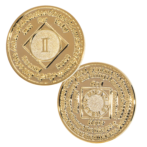 NA 5 Year Red Coin Narcotics Anonymous Coin Gold Plated Medallion