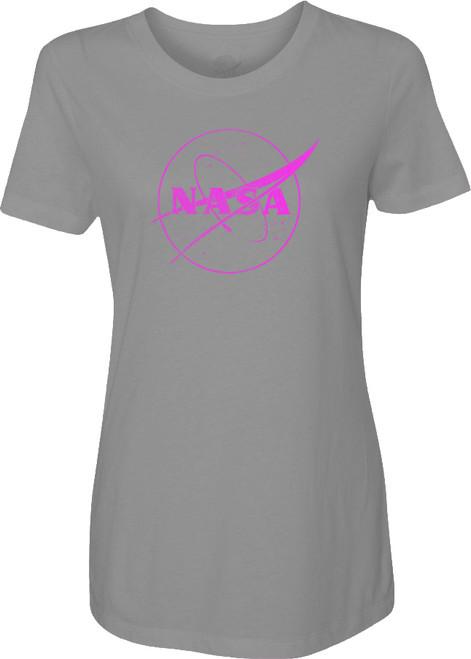 NASA Meatball Logo - Pink Outline - Ladies T-Shirt