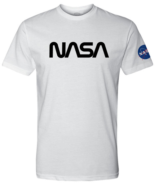 NASA Worm Logo - Black - Adult T-Shirt