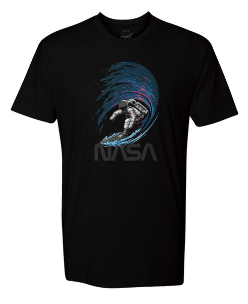 NASA Worm Logo - Surfing In Space Adult T-Shirt