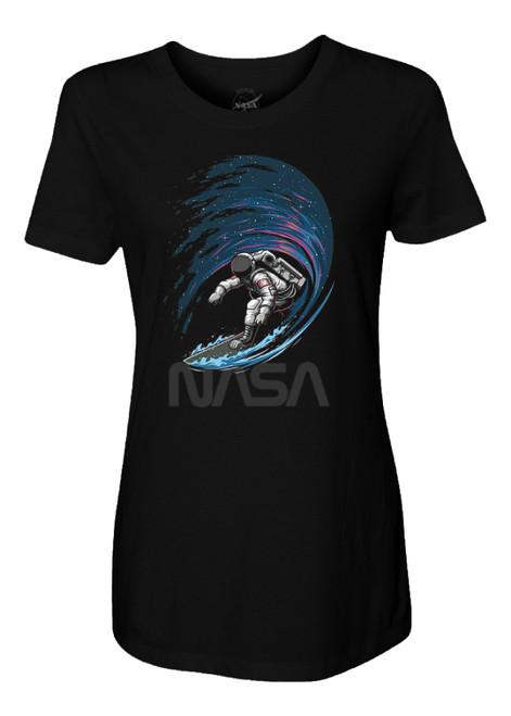 NASA Worm Logo - Surfing In Space Ladies T-Shirt