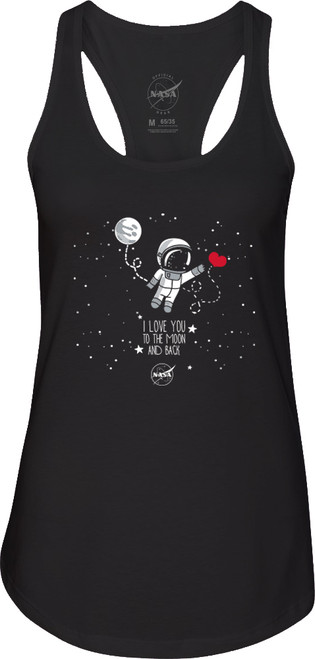 NASA Meatball Logo - To The Moon and Back Ladies Racerback Tank Top