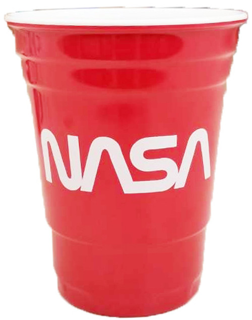 NASA Worm Logo - Reusable 12 oz Red Plastic Party Cup