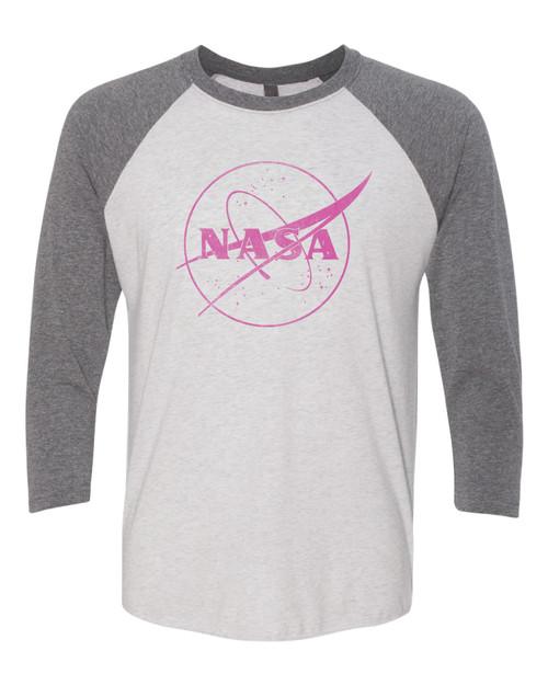 NASA Meatball Logo - Pink Outline - Adult Baseball T-Shirt