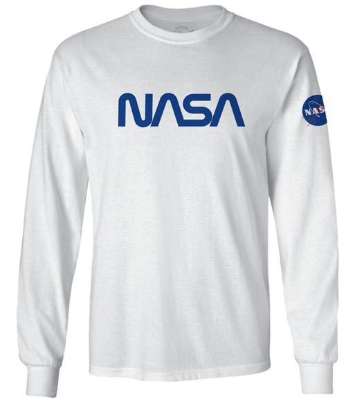 NASA Worm Logo - Blue - Adult Long Sleeve T-Shirt