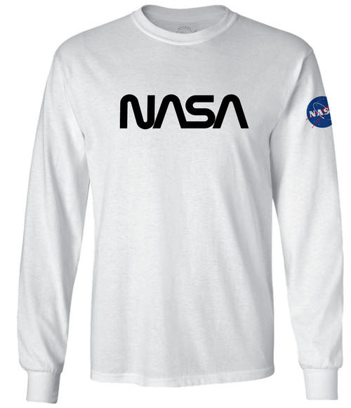 NASA Worm Logo - Black - Adult Long Sleeve T-Shirt