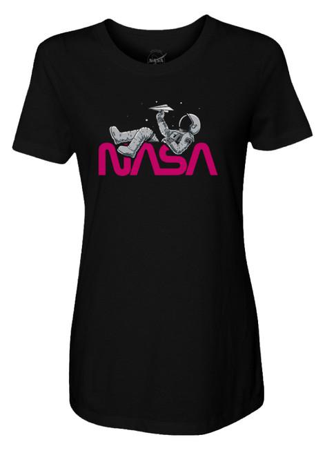NASA Worm Logo - Paper Plane Astronaut Ladies T-Shirt
