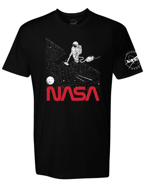 NASA Worm Logo - Vacuuming Stars Adult T-Shirt