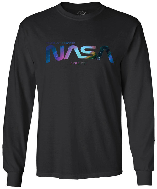 NASA Worm Logo - Nebula Design - Adult Long Sleeve T-Shirt