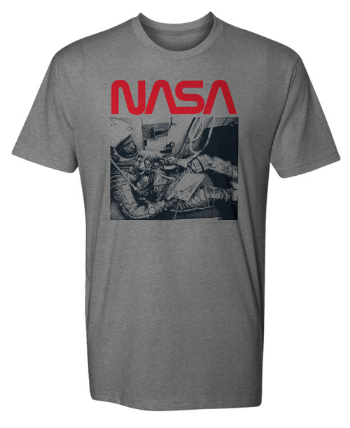 NASA Worm Logo - Retro Astronaut Adult T-Shirt