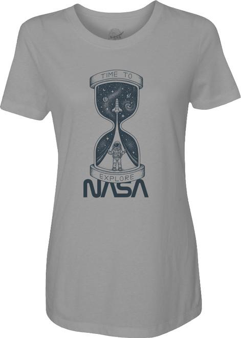 NASA Worm Logo - Time To Explore Ladies T-Shirt
