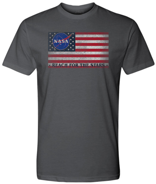 NASA Meatball Logo - US Flag Reach For The Stars Adult T-Shirt