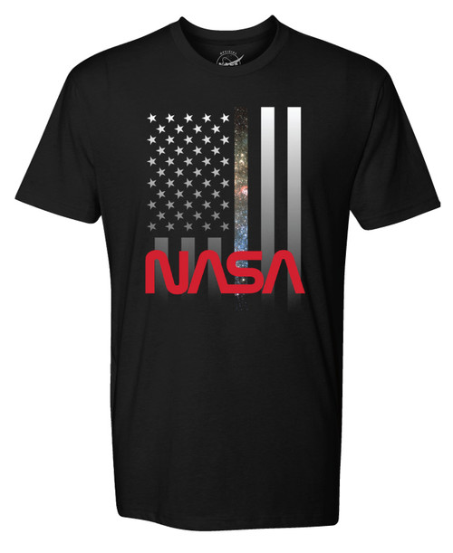 NASA Worm Logo - Vertical U.S. Flag Adult T-Shirt